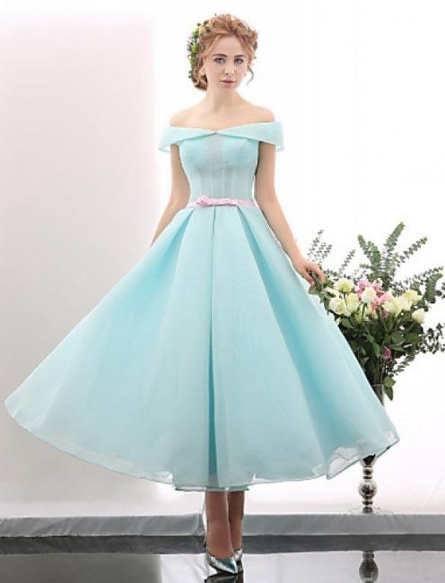 Blue Short Cocktail Dresses A Line Off Shoulder Evening Wear Prom Dresses