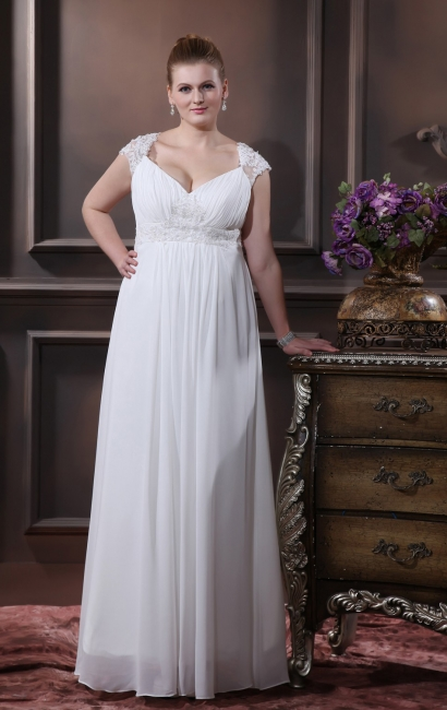 Cheap Wedding Dresses For Large Size Chifonn Long Plus Size Wedding Gowns