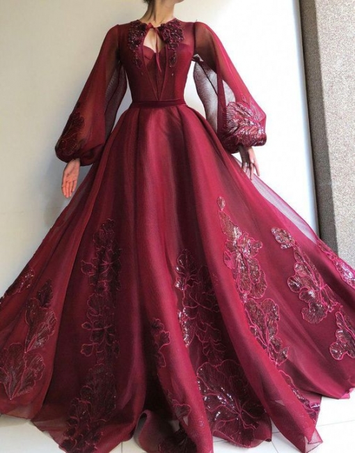 Elegant evening dresses with sleeves | Prom dresses long wine red