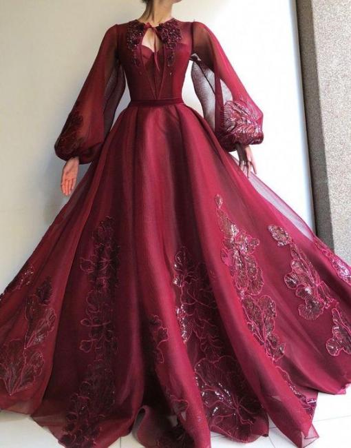 Elegante Abendkleider Mit Ärmel | Abiballkleider Lang Weinrot