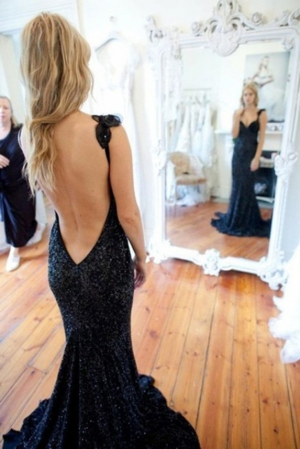Black Backless Prom Dresses Long With Beading Mermaid Evening Dresses Cocktail Dresses