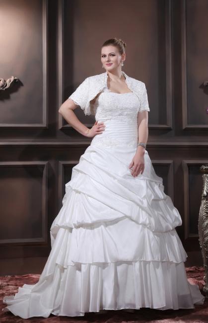 Weiß Brautkleider Übergröße Mit Bolero Spitze Taft Hochzeitskleider Große Größe