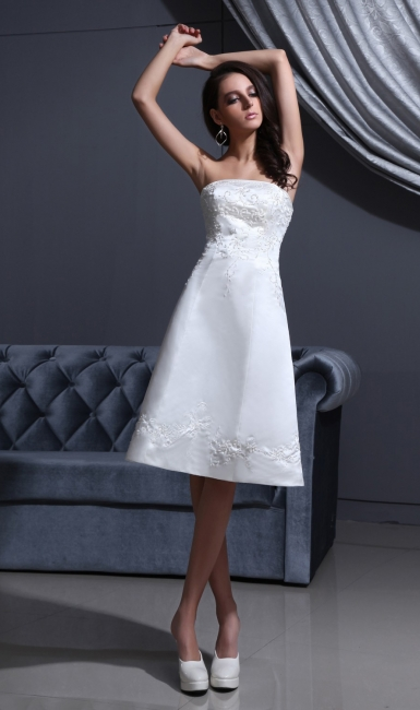 Short Wedding Dresses A Line Satin Knee Length Bridal Wedding Dresses Cheap