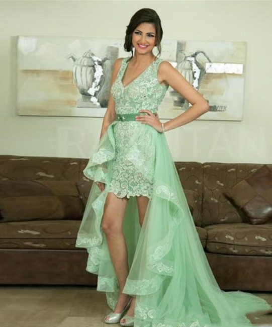 Elegant Prom Dresses Lace Front Short Behind Long Evening Dresses Mint Green