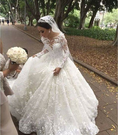 White wedding dresses with long sleeves princess lace wedding gowns