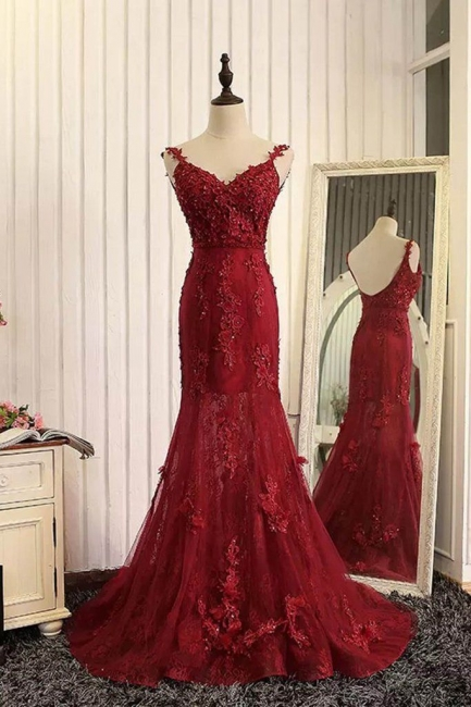 Schicke Rote Abendkleider Sptize Herz Meerjungfrau Tüll Abendmoden Abiballkleider