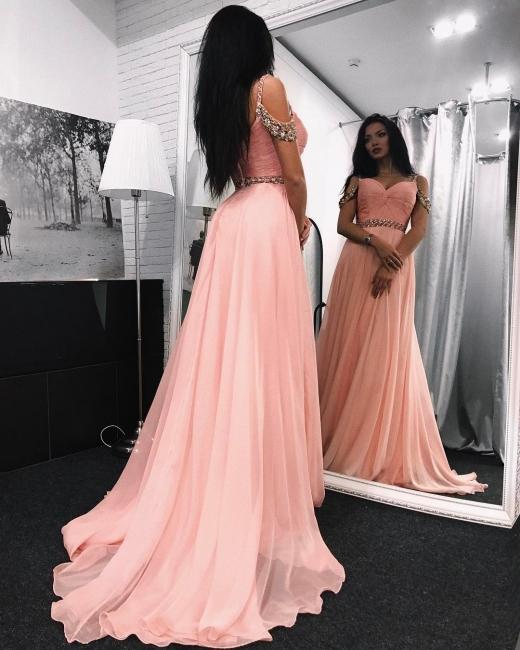Pink Evening Dresses Long Cheap Off Shoulder Chiffon Prom Dresses Online
