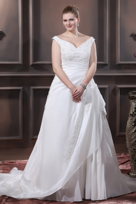 White Wedding Dresses Plus Size With Lace Off Shoulder A Line Big Size Wedding Gowns