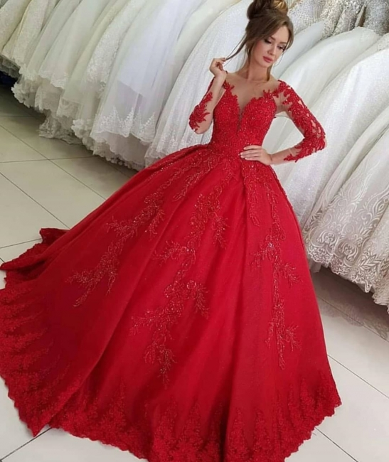 Luxury red wedding dresses with sleeves | Wedding dresses princess lace