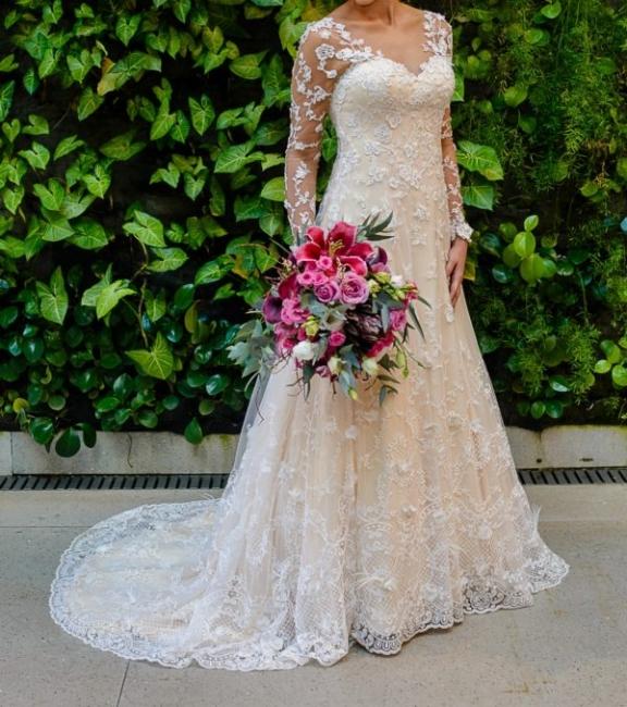 Schlichte Brautkleider Spitze Mit Lange Ärmel A Linie Hochzeitskleider
