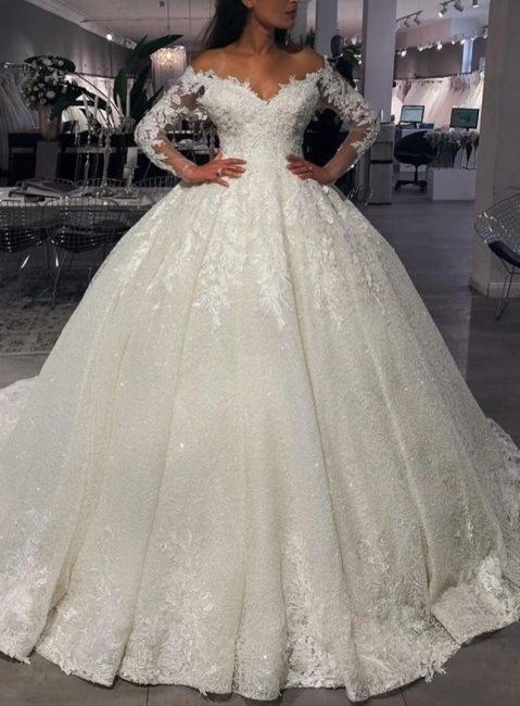 Luxury wedding dresses princess with glitter | Wedding dresses with sleeves