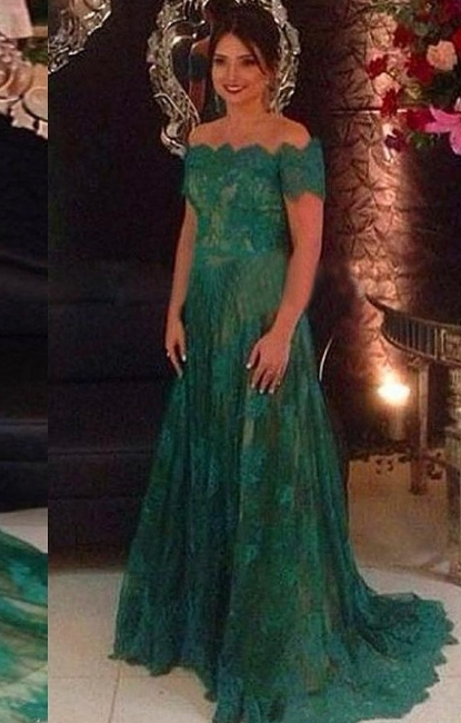 Green Evening Dresses Long Lace With Sleeves A Line Off Shoulder Evening Wear Prom Dresses