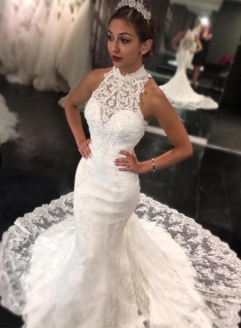 Günstig Weiß Hochzeitskleider Spitze Neckholder Meerjungfrau Brautkleider Hochzeitsmoden Günstig