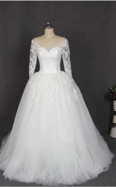 Schlichte Hochzeitskleider Mit Ärmel Weiß Tüll Brautkleid Günstig