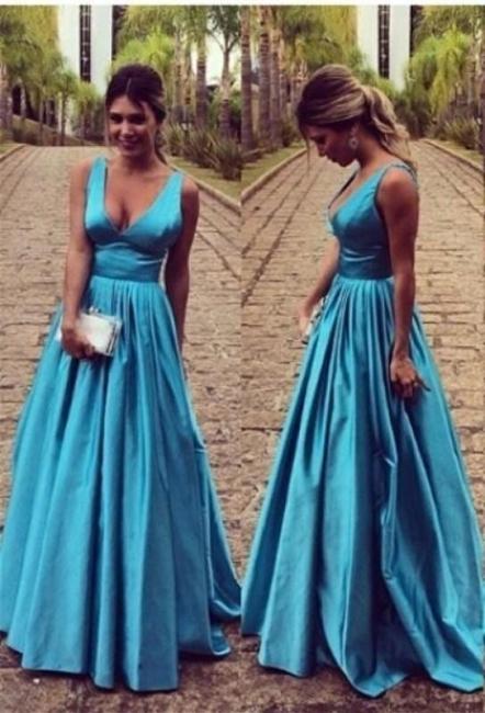 Elegante Blau Abendkleider Lang Günstig Träger A Linie Abendmoden Partykleider