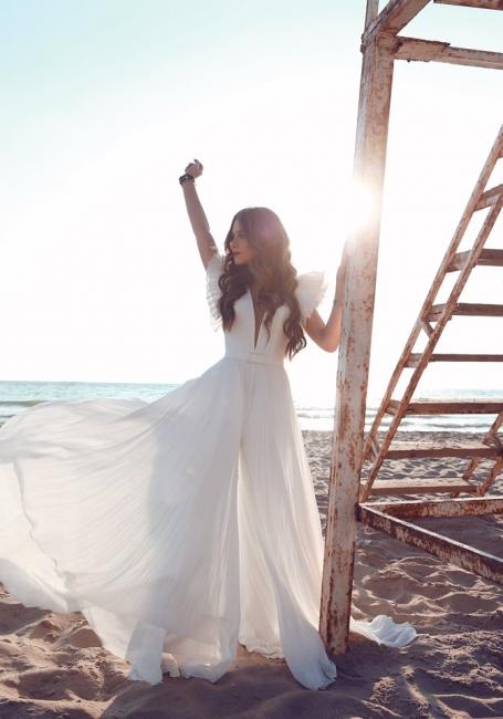 Schlichte Brautkleider Chiffon | Etuikleider Hochzeitskleider Bodenlang Online