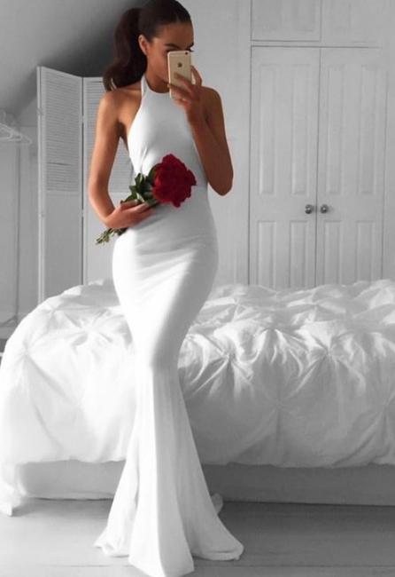 Weiße Abschlussballkleider Lang Abendkleider Meerjungfrau Satin Ballkleider