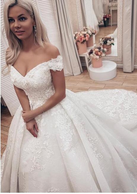 Gorgeous Off Shoulder A Line Lace Wedding Dresses