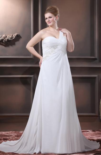 Weiß Brautkleider Große Größe Chiffon Ein Schulter Übergröße Brautmoden Hochzeitskleider