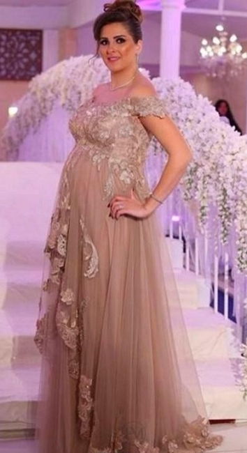 Champagne Evening Dresses Long For Pregnant Women With Lace One Shoulder Dresses Pregnancy