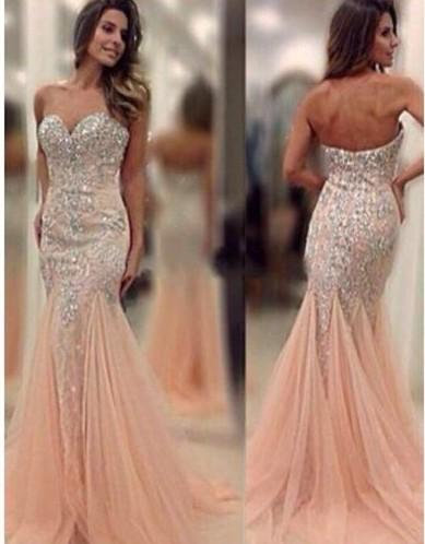 Rosa Gold Günstig Lange Abendkleider Mit Spitze Meerjungfrau Abendmoden Online
