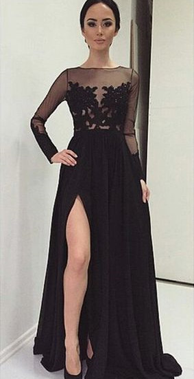 Prom Dresses Long Sleeves Black Cheap Evening Dresses With Lace Chiffon Evening Wear