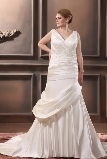 Ivory wedding dresses plus size satin a line wedding gowns plus size bridal gowns