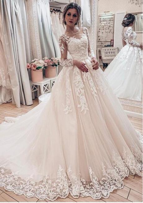 Fashion Brautkleider A Linie Mit Ärmel | Hochzeitskleider Günstig Online