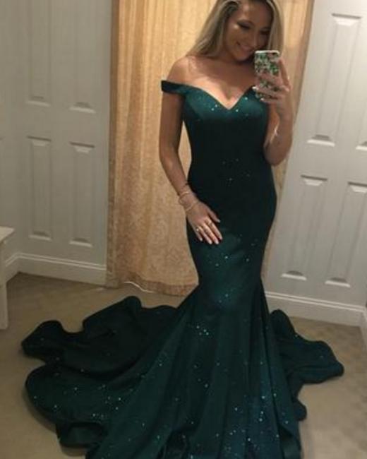 Dark green long evening dresses cheap sequined prom dresses evening wear online cheap