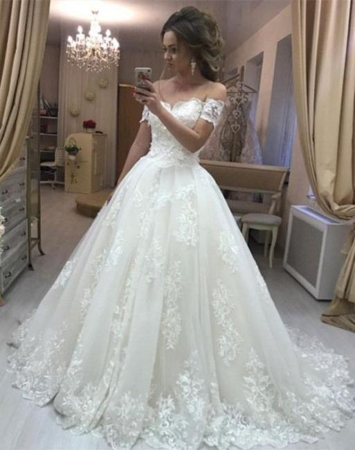 Elegant Wedding Dresses Cream A Line Lace Wedding Gowns Cheap Online