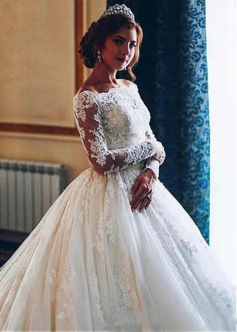 Designer Wedding Dresses With Lace A Line | Wedding dresses with sleeves