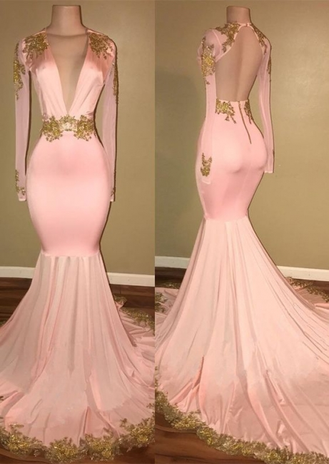 Pink Evening Dresses Long With Sleeves | Evening wear online shop