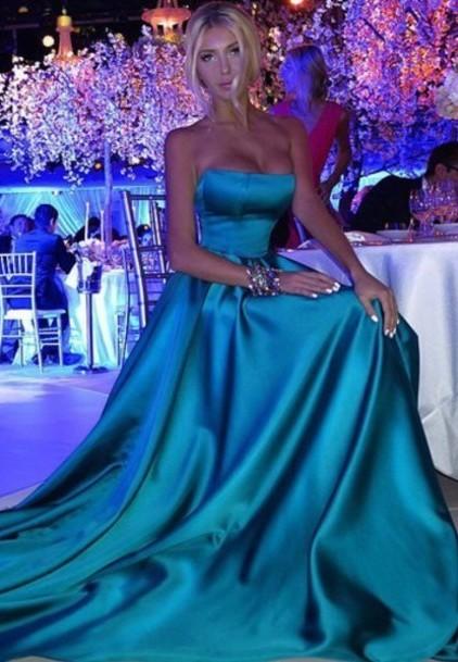 Designer blue evening dresses long satin