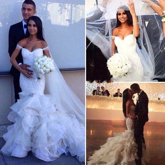 Elegante Brautkleider Mit Spitze Meerjungfrau Organza Hochzeitskleider Brautmoden
