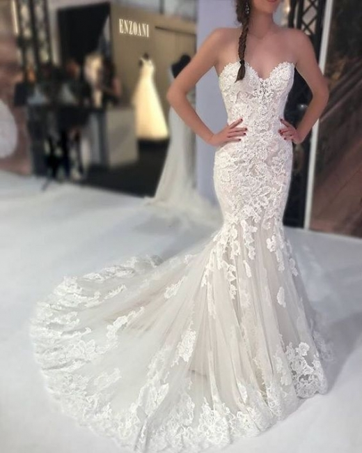 Fashion white wedding dresses with lace mermaid wedding gowns cheap online