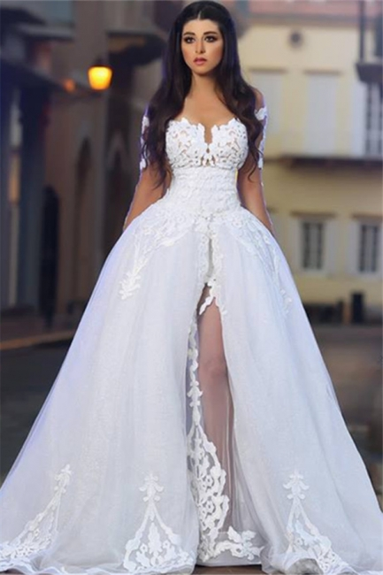 White Wedding Dresses 2021 Lace Long Sleeves A Line Organza Bridal Wedding Gowns