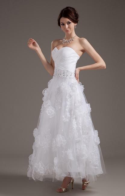 Simple Wedding Dresses Short With Lace A-Line Tea-Length Bridal Wedding Dresses