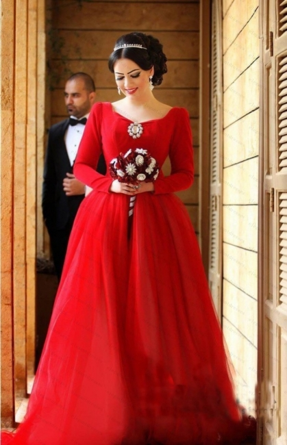 Red Evening Dresses Long Sleeves A Line Organza Evening Wear Prom Dresses
