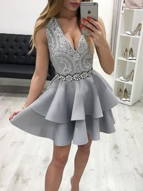 Silver Cocktail Dresses With Lace | A line prom dresses short prom dresses