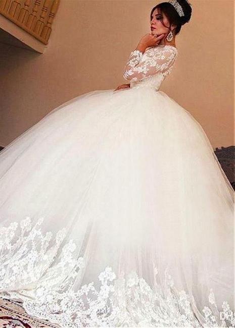Festlich Weiße Brautkleider Mit Ärmel Prinzessin Spitze Hochzeitskleider Online