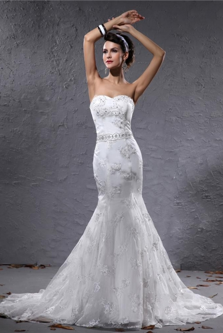 Romantic Wedding Dresses White Lace Mermaid Bridal Wedding Dresses With Train