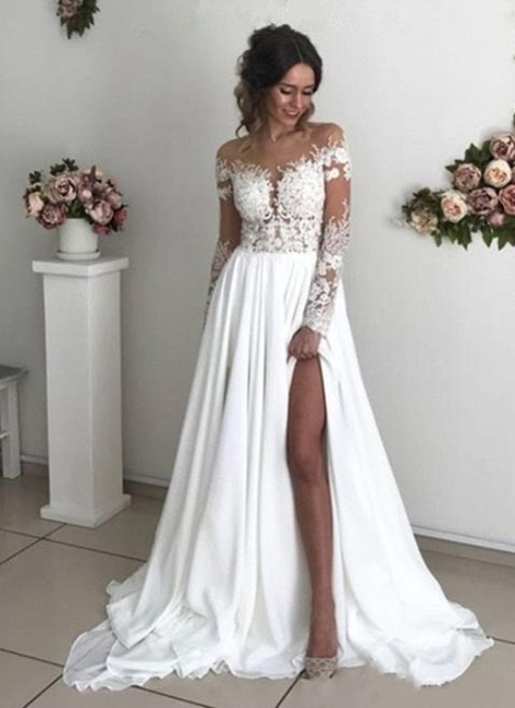 Simple wedding dress with sleeves | Summer wedding dresses with lace