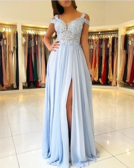 Blaue Chiffon Abendkleider Lang Günstig Eutui Abiballkleider Abendmoden
