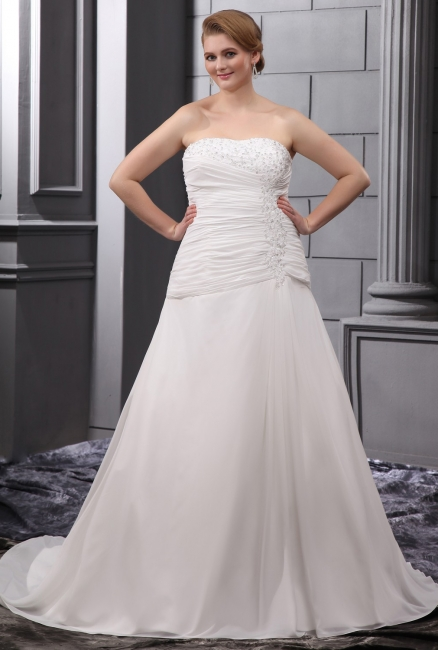 White Wedding Dresses Plus Size Chiffon A Line Wedding Dresses Large Size Bridal Wear
