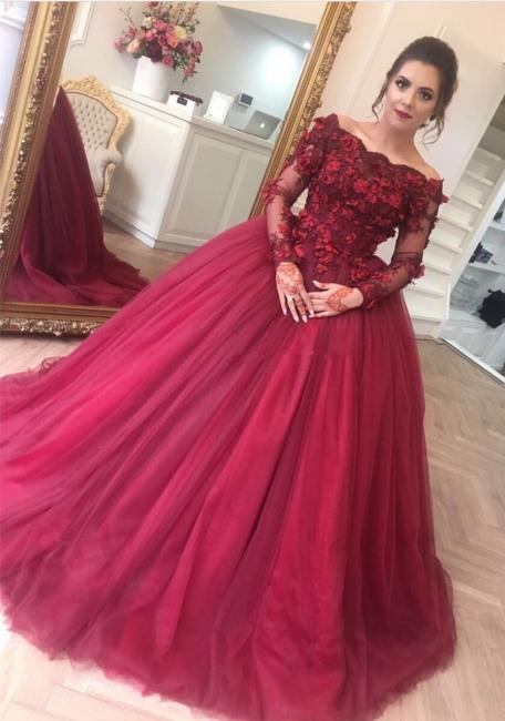 Burgundy Hochzeitskleider Mit Ärmel Prinzessin Spitze Brautkleider Online Bestellen