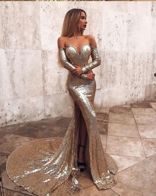 Elegant prom dresses prom dresses gold evening dresses long with sleeves
