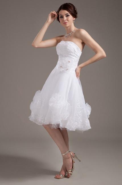 Günstig Kurze Brautkleider Weiß A linie Blumen Brautmoden Hochzeitskleider