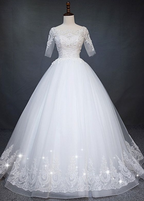 Fashion white wedding dresses with short sleeves lace wedding gowns online