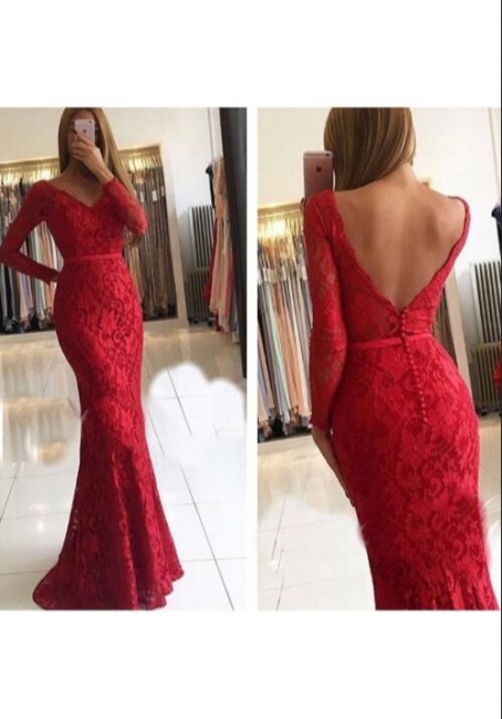 Elegant Red Evening Dresses Lace With Sleeves Floor Length Evening Wear Prom Dresses