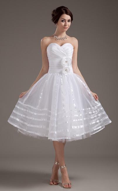 Billige Brautkleider Kurz Weiß Herz A Linie Organza Brautmoden Hochzeitskleider